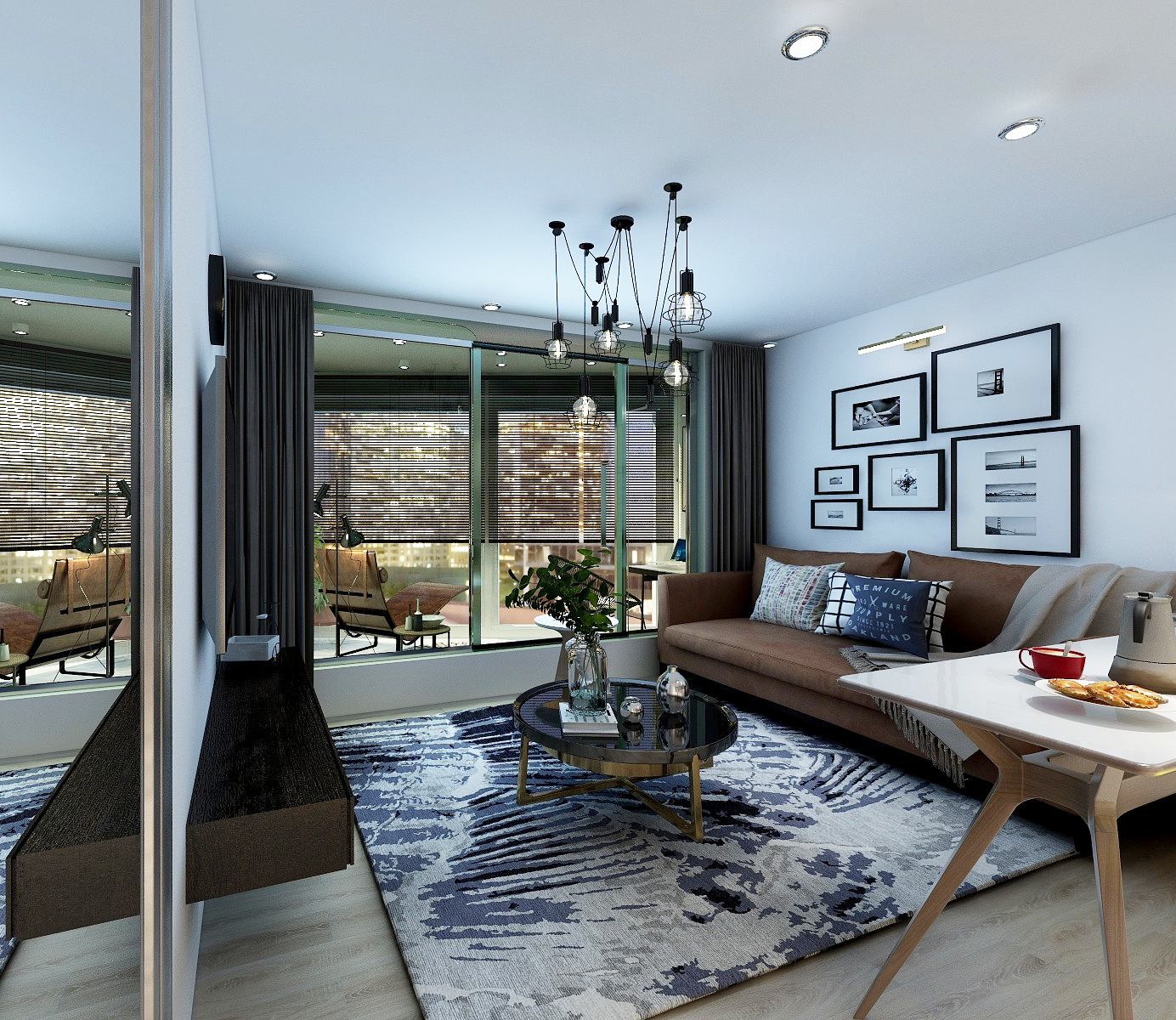 davey bacaron 3d interior visualization of an eclectic contemporary livingroom interior design